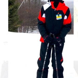 Spyder Ski Suit - youth size 14 - red and black